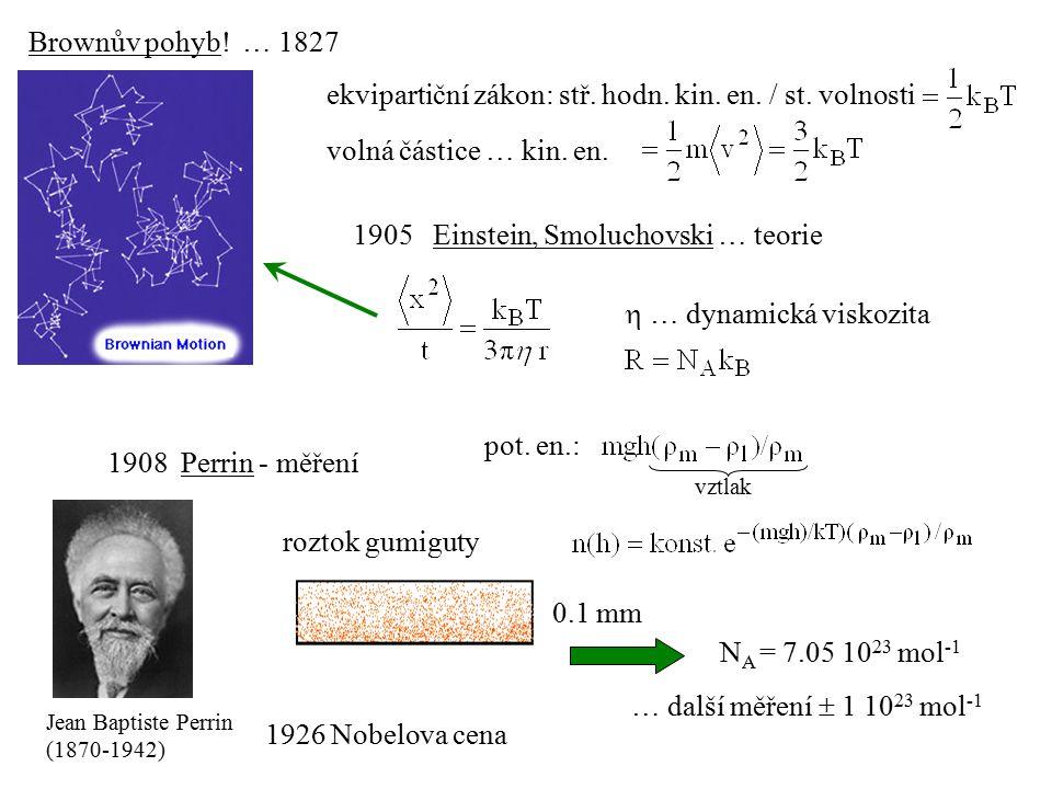 1905 Einstein, Smoluchovski … teorie  … dynamická viskozita 1908 Perrin - měření Jean Baptiste Perrin (1870-1942) ekvipartiční zákon: stř.