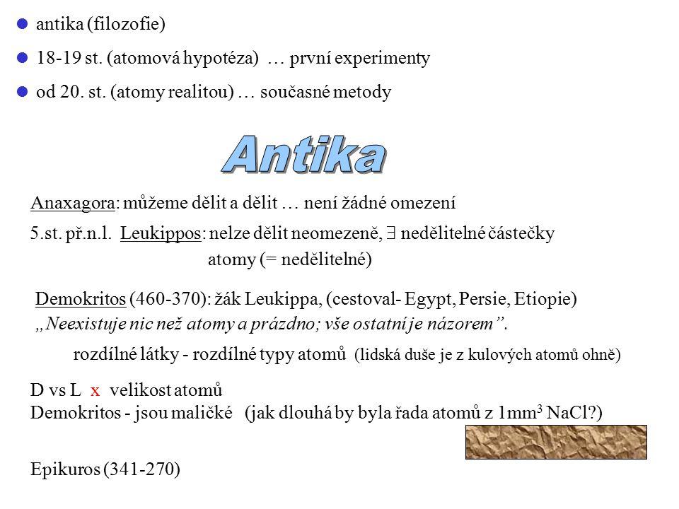  antika (filozofie)  18-19 st.(atomová hypotéza) … první experimenty  od 20.