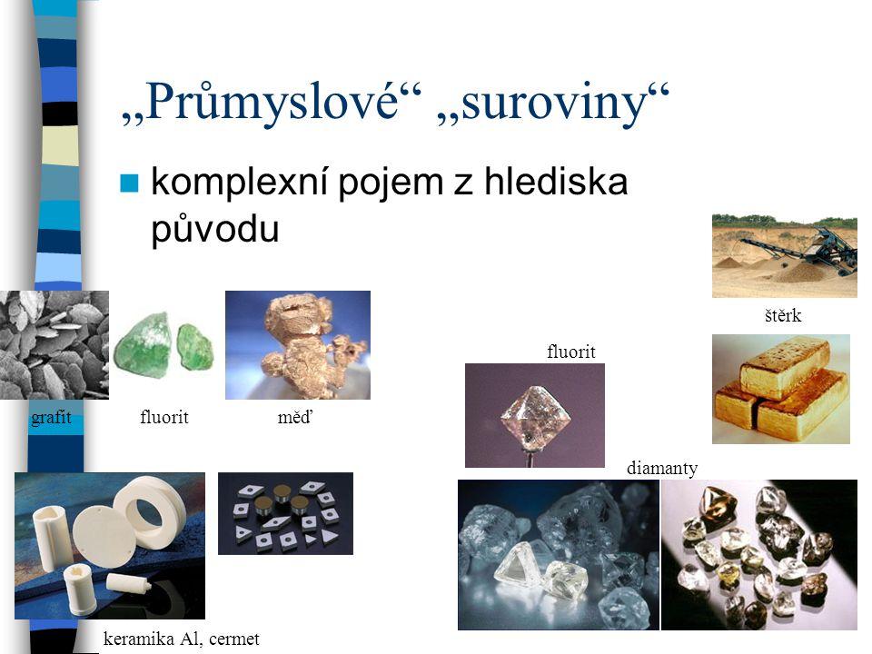"""""""Průmyslové"""" """"suroviny"""" komplexní pojem z hlediska původu grafitfluorit keramika Al, cermet štěrk měď fluorit diamanty"""