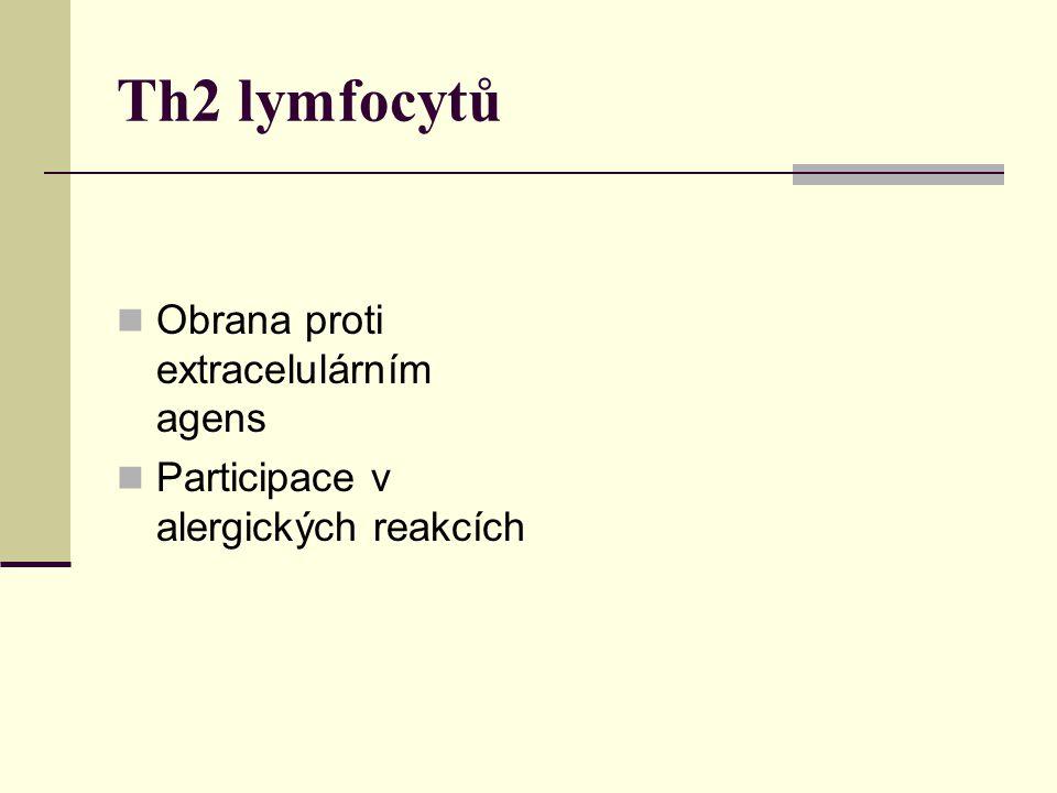 Th2 lymfocytů Obrana proti extracelulárním agens Participace v alergických reakcích Th3