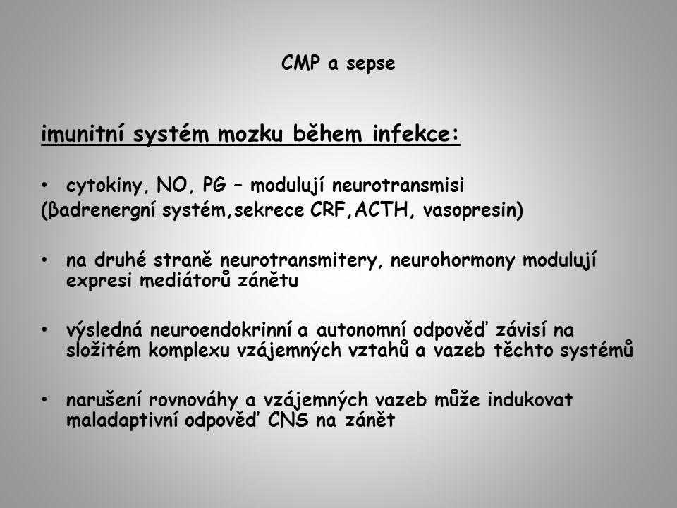 CMP a sepse imunitní systém mozku během infekce: cytokiny, NO, PG – modulují neurotransmisi (βadrenergní systém,sekrece CRF,ACTH, vasopresin) na druhé straně neurotransmitery, neurohormony modulují expresi mediátorů zánětu výsledná neuroendokrinní a autonomní odpověď závisí na složitém komplexu vzájemných vztahů a vazeb těchto systémů narušení rovnováhy a vzájemných vazeb může indukovat maladaptivní odpověď CNS na zánět