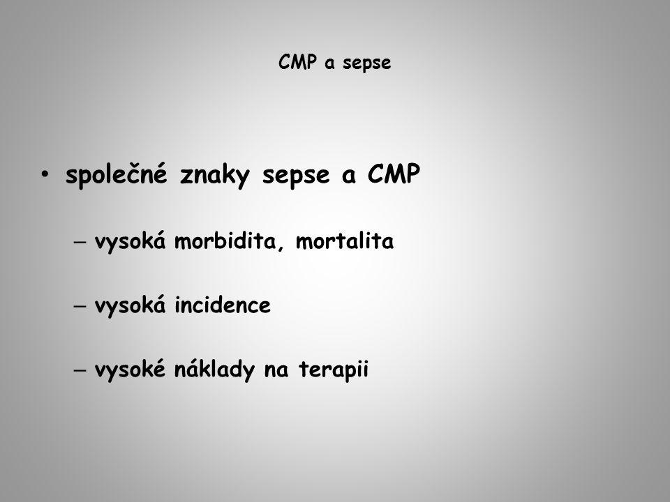 CMP a sepse společné znaky sepse a CMP – vysoká morbidita, mortalita – vysoká incidence – vysoké náklady na terapii