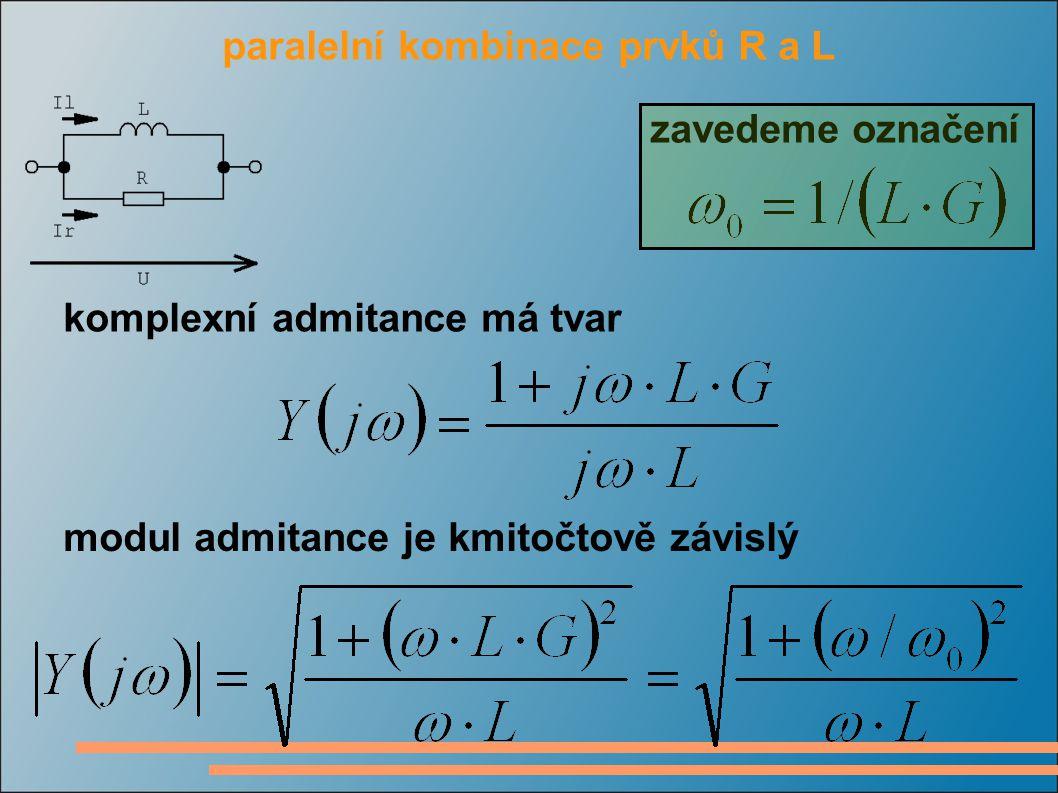 paralelní kombinace prvků R a L komplexní admitance má tvar modul admitance je kmitočtově závislý zavedeme označení