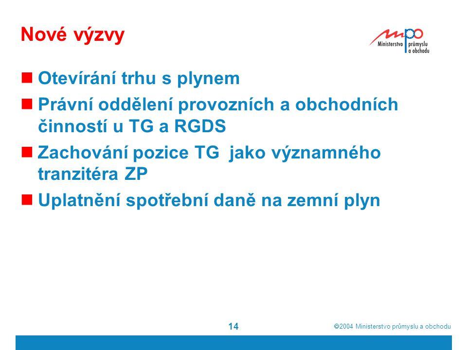  2004  Ministerstvo průmyslu a obchodu 14 Nové výzvy Otevírání trhu s plynem Právní oddělení provozních a obchodních činností u TG a RGDS Zachování