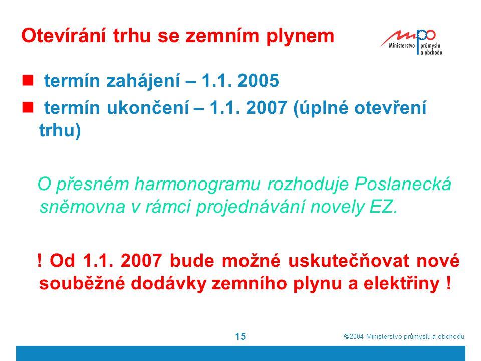  2004  Ministerstvo průmyslu a obchodu 15 Otevírání trhu se zemním plynem termín zahájení – 1.1. 2005 termín ukončení – 1.1. 2007 (úplné otevření t