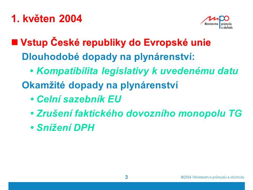  2004  Ministerstvo průmyslu a obchodu 3 1. květen 2004 Vstup České republiky do Evropské unie Vstup České republiky do Evropské unie Dlouhodobé do