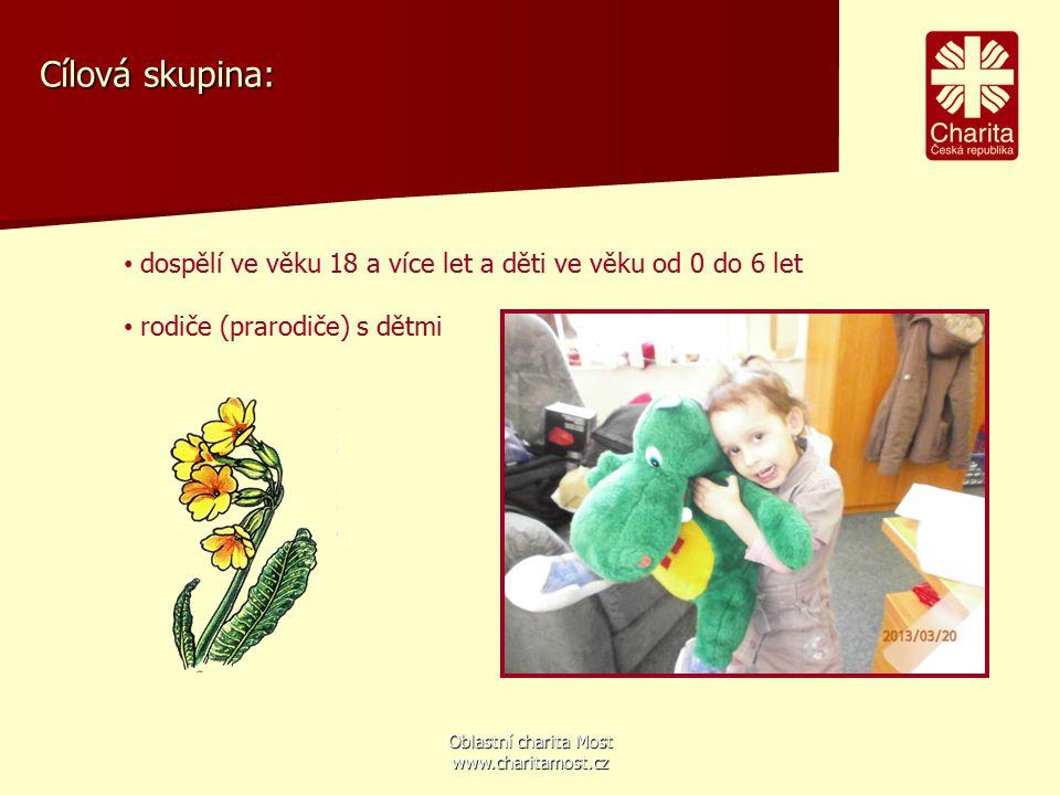 Oblastní charita Most www.charitamost.cz Cílová skupina: dospělí ve věku 18 a více let a děti ve věku od 0 do 6 let rodiče (prarodiče) s dětmi