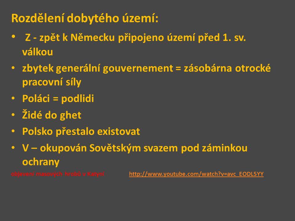 Rozdělení dobytého území: Z - zpět k Německu připojeno území před 1. sv. válkou zbytek generální gouvernement = zásobárna otrocké pracovní síly Poláci