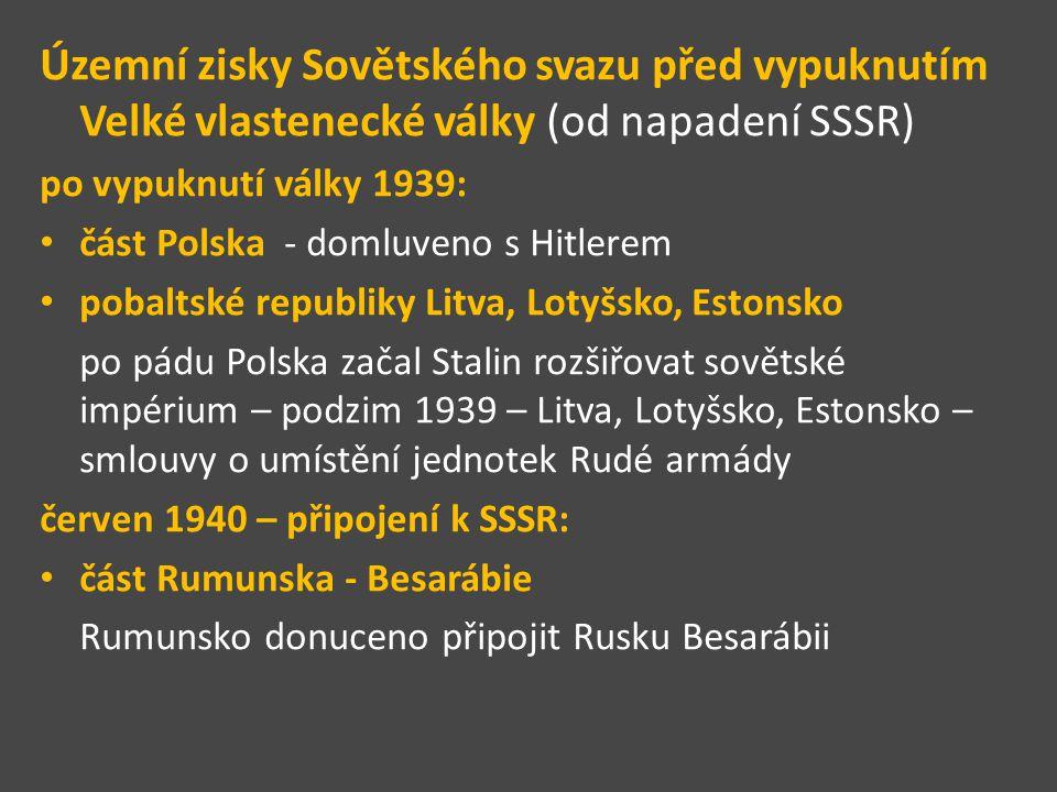část Finska - Karélie 1939/1940 – rusko – finská zimní válka – Finsko se muselo vzdát části území – Karélie Molotovův koktejl – používali Finové proti ruským tankům Finsko bylo v podobné situaci jako ČSR v roce 1938 mělo výhodnější hranici se SSSR, ruská armáda byla po politických čistkách bez schopného velení Finsko vedl Carl Gustav Emil Mannerheim držel ochrannou ruku nad Židy Finsko volilo Německo jako menší zlo než SSSR http://www.kcprymarov.estranky.cz/clanky/Vyroci-udalosti/pred-70-lety-napadl-sovetsky-svaz- finsko_-molotovovy-koktejly-i-vojaci-na-lyzich.html