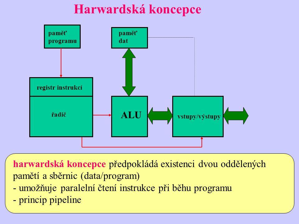 Harwardská koncepce harwardská koncepce předpokládá existenci dvou oddělených pamětí a sběrnic (data/program) - umožňuje paralelní čtení instrukce při