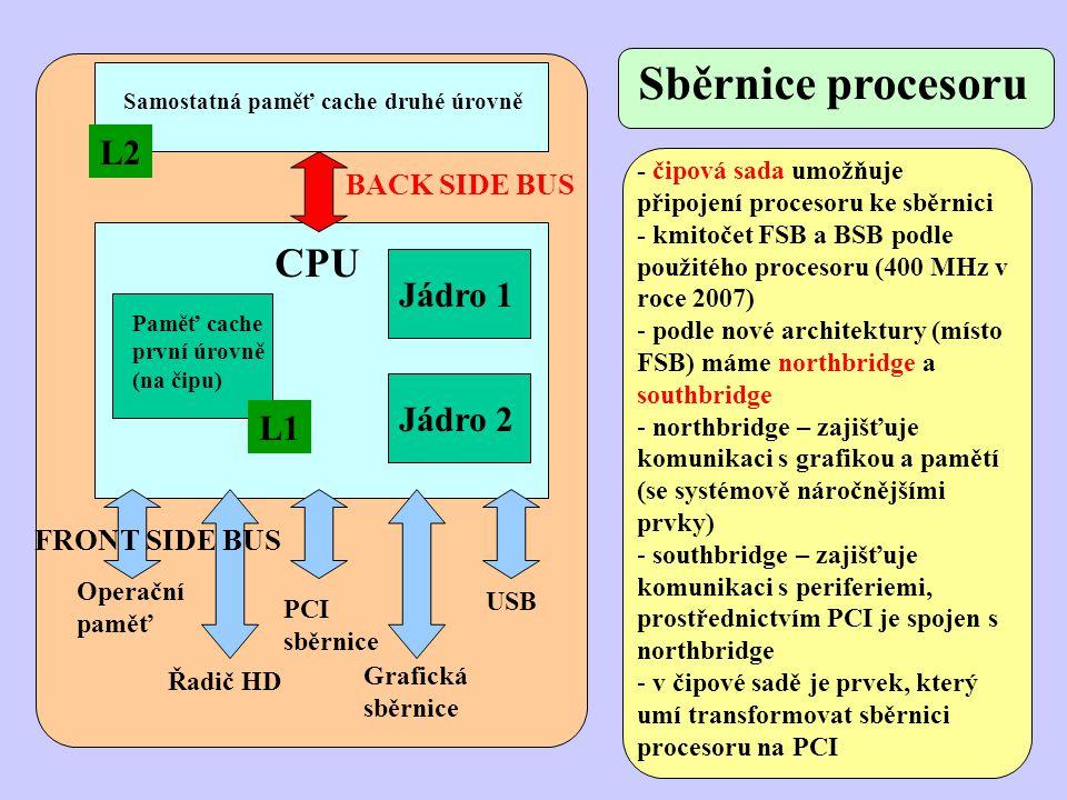 Jádro 1 Jádro 2 CPU Paměť cache první úrovně (na čipu) Samostatná paměť cache druhé úrovně BACK SIDE BUS Operační paměť Řadič HD PCI sběrnice Grafická