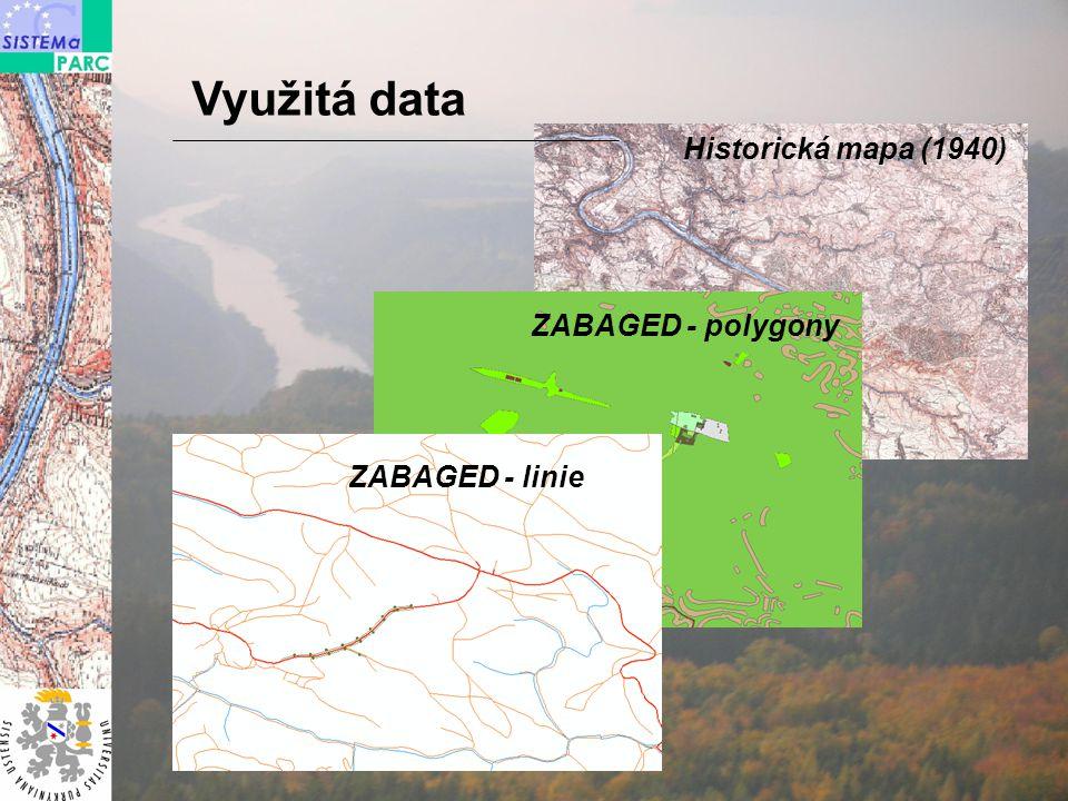 Historická mapa (1940) ZABAGED - polygony ZABAGED - linie Využitá data