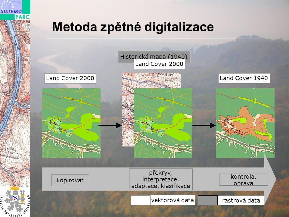 rastrová data vektorová data Historická mapa (1940) Land Cover 2000 kopírovat překryv, interpretace, adaptace, klasifikace Land Cover 1940 Land Cover 2000 kontrola, oprava Metoda zpětné digitalizace