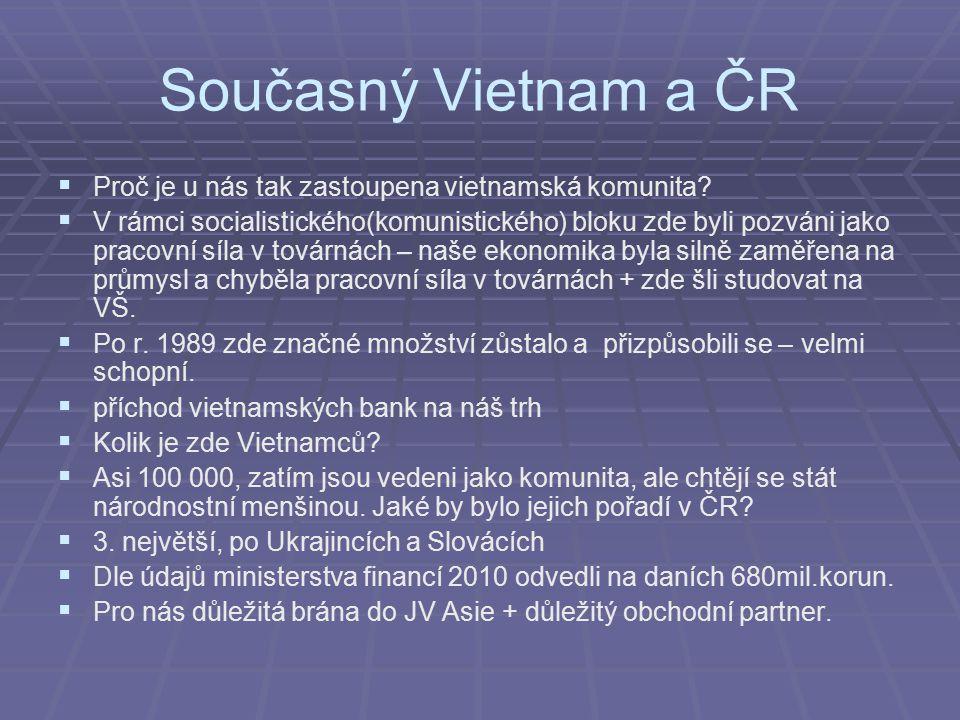 Současný Vietnam a ČR   Proč je u nás tak zastoupena vietnamská komunita?   V rámci socialistického(komunistického) bloku zde byli pozváni jako pr