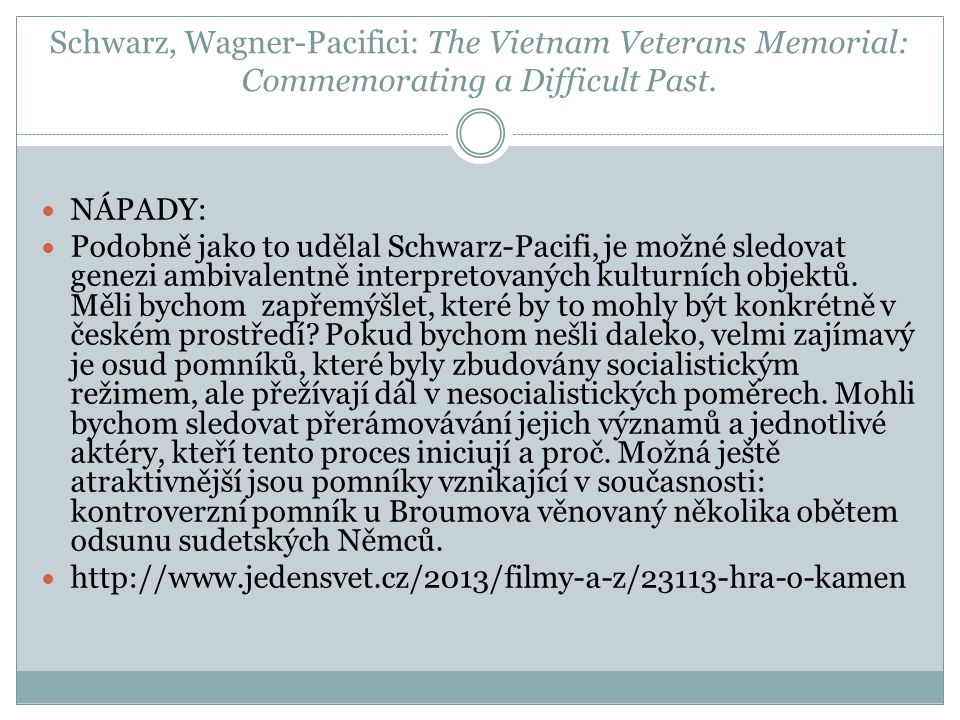 Schwarz, Wagner-Pacifici: The Vietnam Veterans Memorial: Commemorating a Difficult Past.