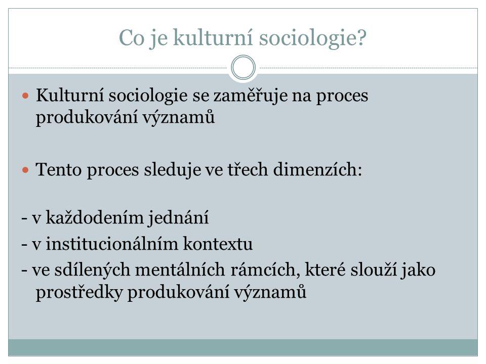 Co je kulturní sociologie.