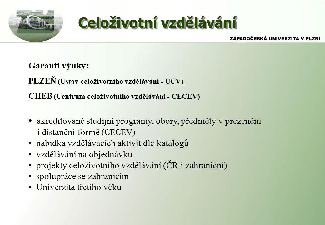 Celoživotní vzdělávání Garanti výuky: PLZEŇ (Ústav celoživotního vzdělávání - ÚCV) CHEB (Centrum celoživotního vzdělávání - CECEV) akreditované studijní programy, obory, předměty v prezenční i distanční formě (CECEV) nabídka vzdělávacích aktivit dle katalogů vzdělávání na objednávku projekty celoživotního vzdělávání (ČR i zahraniční) spolupráce se zahraničím Univerzita třetího věku