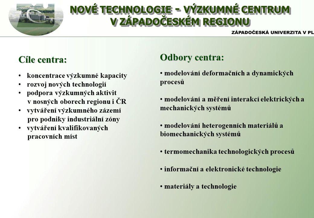 NOVÉ TECHNOLOGIE - VÝZKUMNÉ CENTRUM V ZÁPADOČESKÉM REGIONU NOVÉ TECHNOLOGIE - VÝZKUMNÉ CENTRUM V ZÁPADOČESKÉM REGIONU Cíle centra: koncentrace výzkumné kapacity rozvoj nových technologií podpora výzkumných aktivit v nosných oborech regionu i ČR vytváření výzkumného zázemí pro podniky industriální zóny vytváření kvalifikovaných pracovních míst Odbory centra: modelování deformačních a dynamických procesů modelování a měření interakcí elektrických a mechanických systémů modelování heterogenních materiálů a biomechanických systémů termomechanika technologických procesů informační a elektronické technologie materiály a technologie