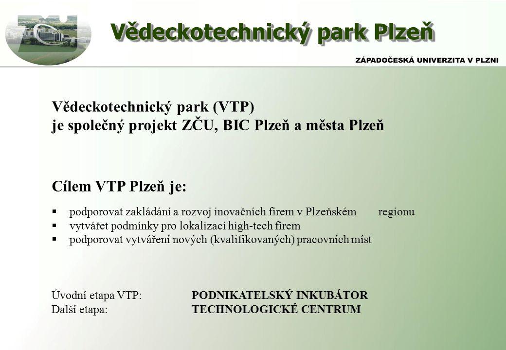 Vědeckotechnický park Plzeň Vědeckotechnický park (VTP) je společný projekt ZČU, BIC Plzeň a města Plzeň Cílem VTP Plzeň je:  podporovat zakládání a rozvoj inovačních firem v Plzeňském regionu  vytvářet podmínky pro lokalizaci high-tech firem  podporovat vytváření nových (kvalifikovaných) pracovních míst Úvodní etapa VTP:PODNIKATELSKÝ INKUBÁTOR Další etapa:TECHNOLOGICKÉ CENTRUM