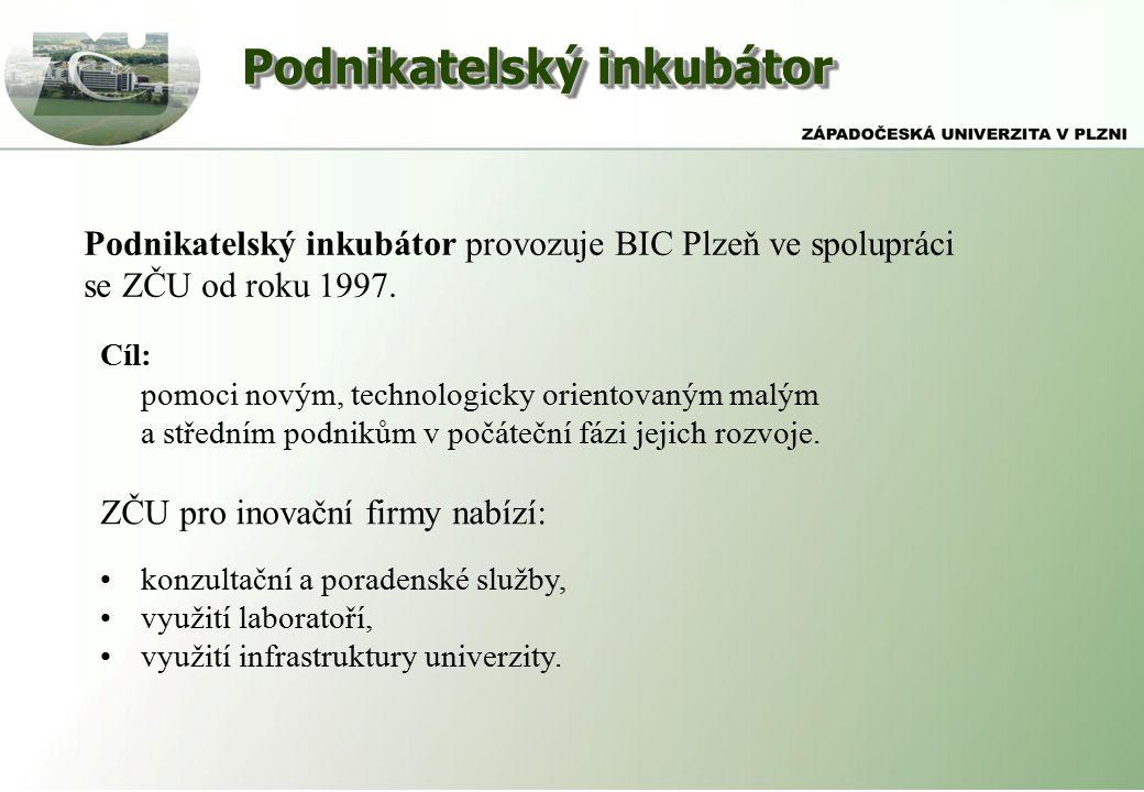 Podnikatelský inkubátor Podnikatelský inkubátor provozuje BIC Plzeň ve spolupráci se ZČU od roku 1997.