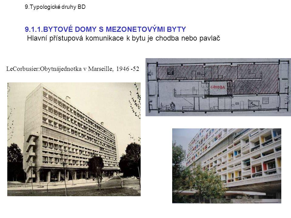 LeCorbusier:Obytnájednotka v Marseille, 1946 -52 9.Typologické druhy BD 9.1.1.BYTOVÉ DOMY S MEZONETOVÝMI BYTY Hlavní přístupová komunikace k bytu je c