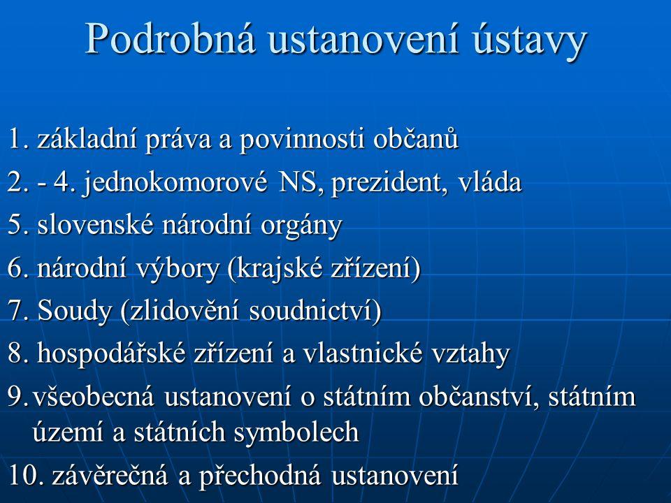 Podrobná ustanovení ústavy 1. základní práva a povinnosti občanů 2.