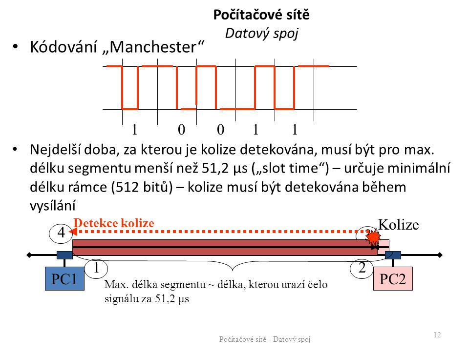 """Počítačové sítě Datový spoj Kódování """"Manchester"""" Nejdelší doba, za kterou je kolize detekována, musí být pro max. délku segmentu menší než 51,2 μs ("""""""