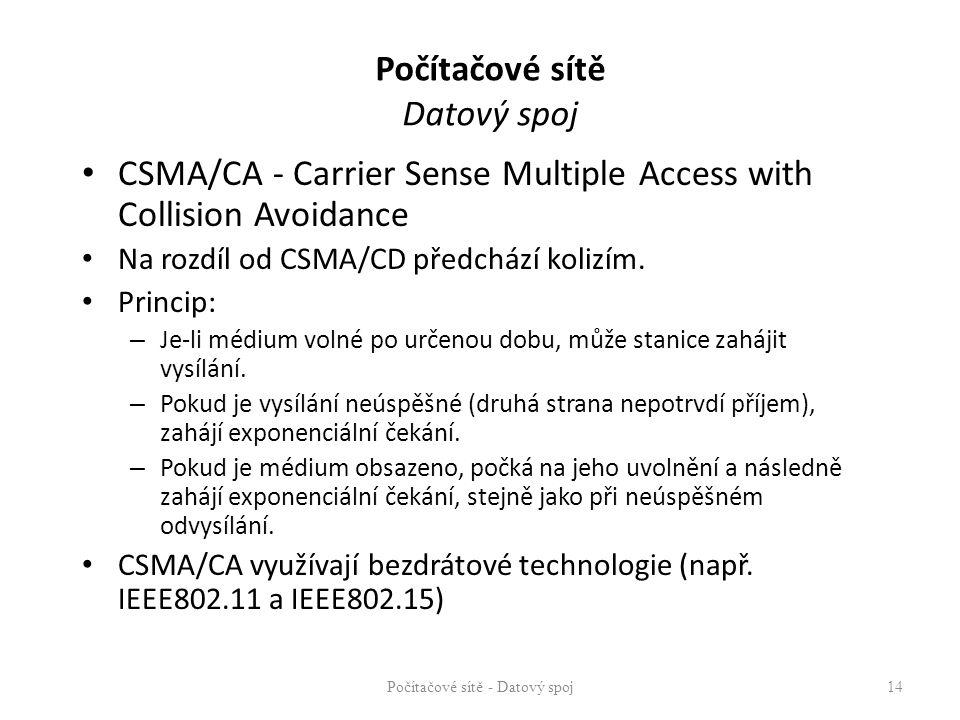 Počítačové sítě Datový spoj CSMA/CA - Carrier Sense Multiple Access with Collision Avoidance Na rozdíl od CSMA/CD předchází kolizím. Princip: – Je-li