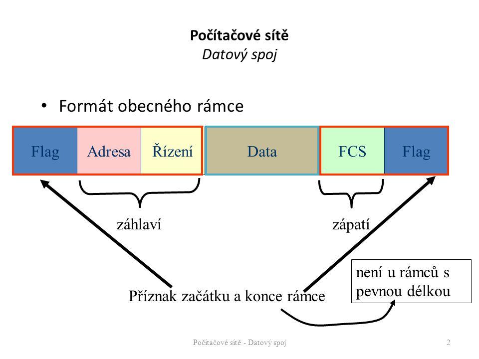 Počítačové sítě Datový spoj Formát obecného rámce Počítačové sítě - Datový spoj 2 Flag FCS Data AdresaŘízení záhlavízápatí Příznak začátku a konce rám