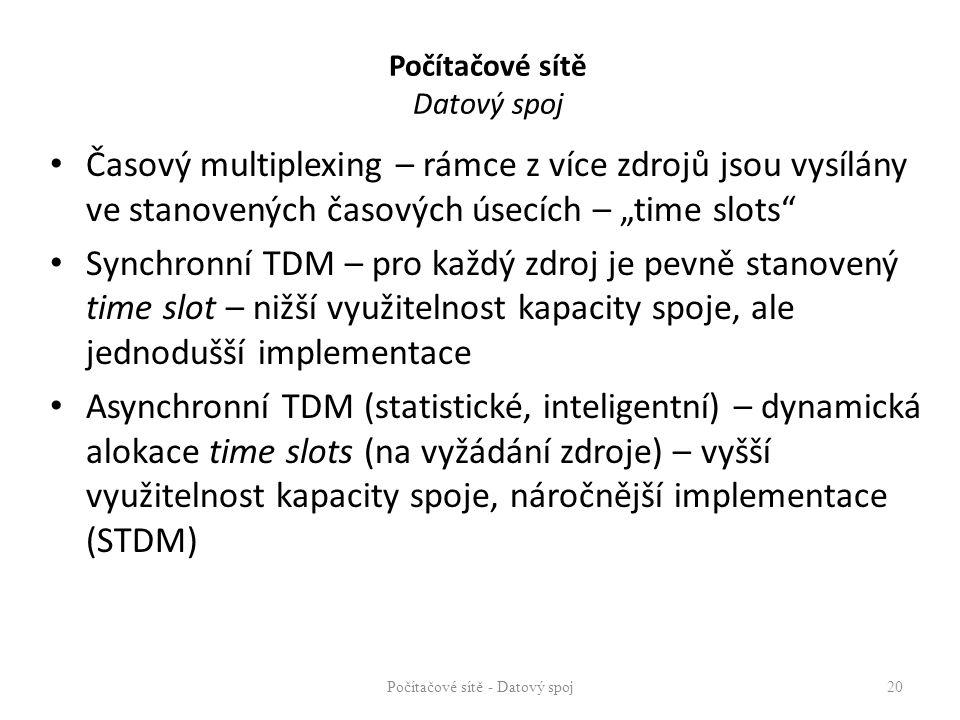 """Počítačové sítě Datový spoj Časový multiplexing – rámce z více zdrojů jsou vysílány ve stanovených časových úsecích – """"time slots"""" Synchronní TDM – pr"""