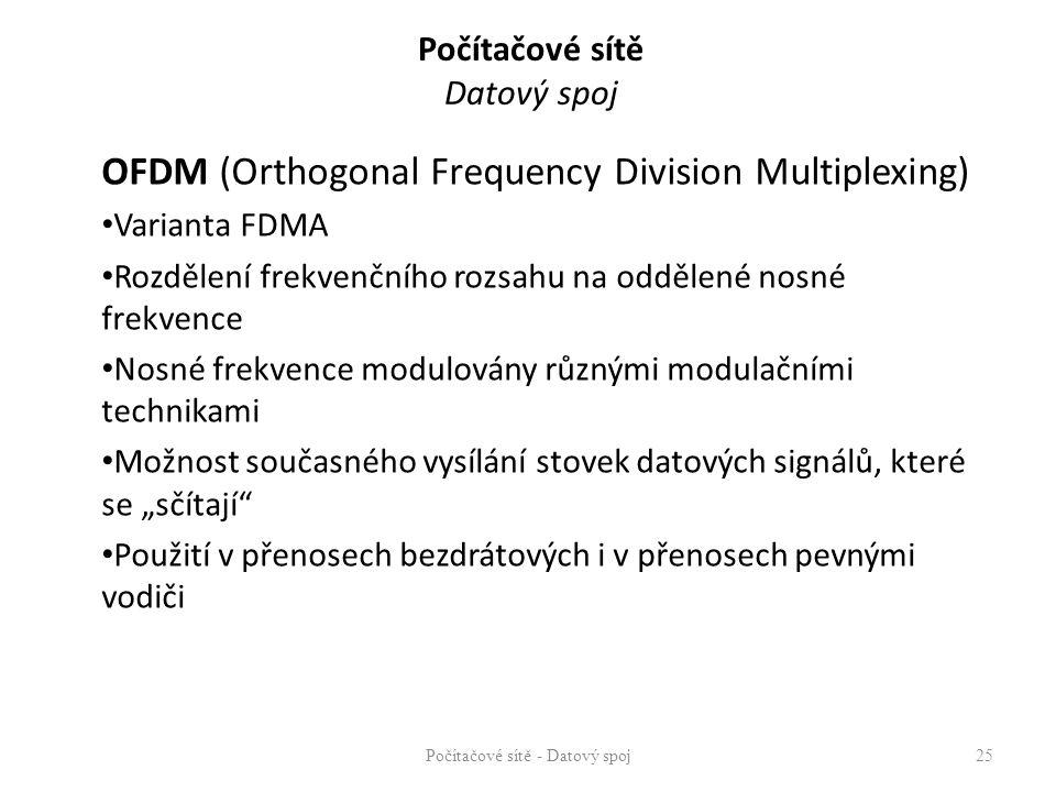 Počítačové sítě Datový spoj OFDM (Orthogonal Frequency Division Multiplexing) Varianta FDMA Rozdělení frekvenčního rozsahu na oddělené nosné frekvence