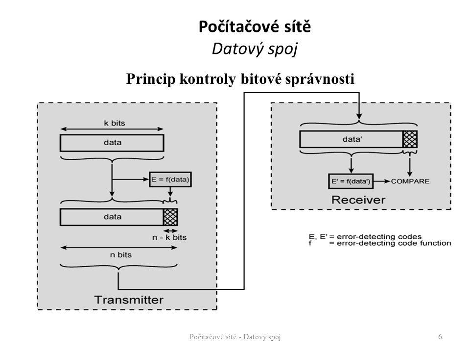 Počítačové sítě Datový spoj Zvýšení využitelnosti spoje – multiplexing jeden fyzický spoj je využit N přenosovými kanály Techniky zvýšení využitelnosti komunikačního kanálu – FDM, TDM, CDMA, OFDM Počítačové sítě - Datový spoj 17 1 3 2 N N 2 1
