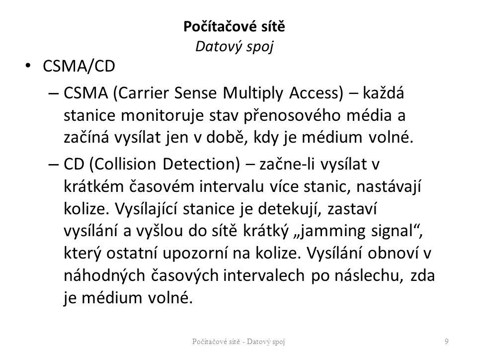 Počítačové sítě Datový spoj CSMA/CD – nepředchází kolizím na sběrnici, ale detekuje je – Před zahájením vysílání zjistí, zda je kanál volný, v případě, že není, počká určitou dobu a pokusí se vysílání zopakovat – Náslech současně s vysíláním (po celou dobu vysílání).