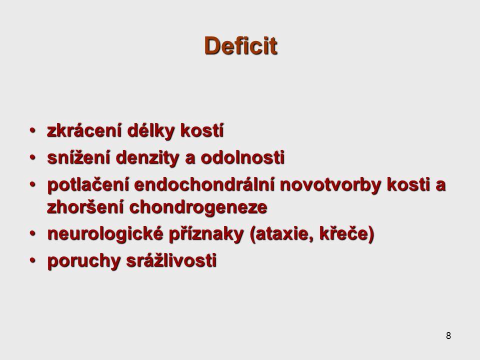 8 Deficit zkrácení délky kostízkrácení délky kostí snížení denzity a odolnostisnížení denzity a odolnosti potlačení endochondrální novotvorby kosti a