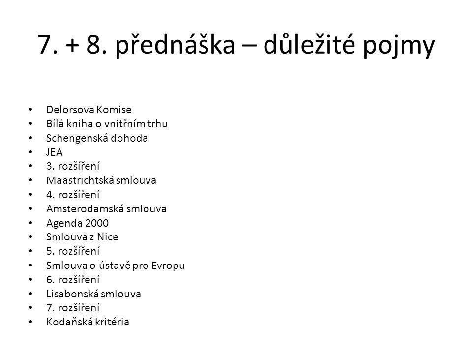 7. + 8. přednáška – důležité pojmy Delorsova Komise Bílá kniha o vnitřním trhu Schengenská dohoda JEA 3. rozšíření Maastrichtská smlouva 4. rozšíření