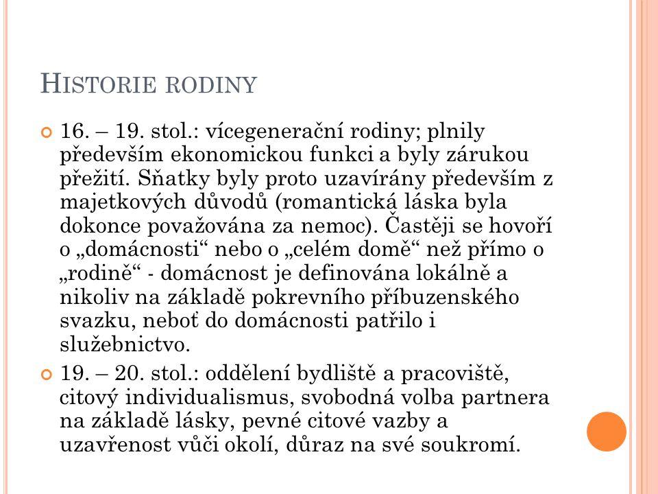 H ISTORIE RODINY 16. – 19.