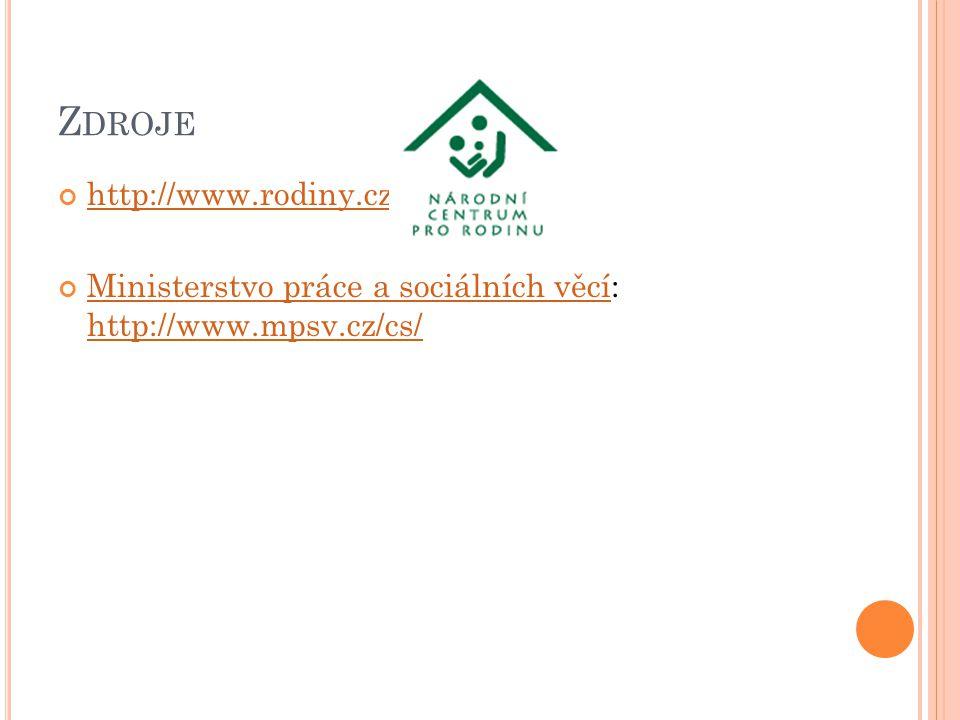 Z DROJE http://www.rodiny.cz/ Ministerstvo práce a sociálních věcíMinisterstvo práce a sociálních věcí: http://www.mpsv.cz/cs/ http://www.mpsv.cz/cs/