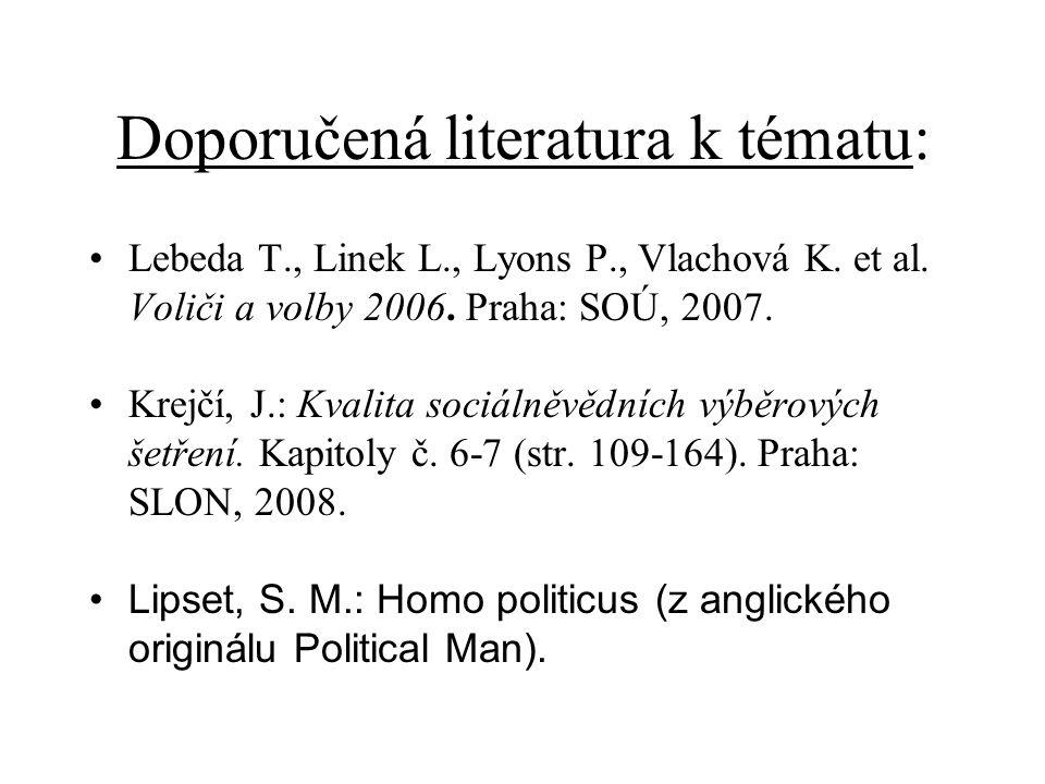 Doporučená literatura k tématu: Lebeda T., Linek L., Lyons P., Vlachová K.