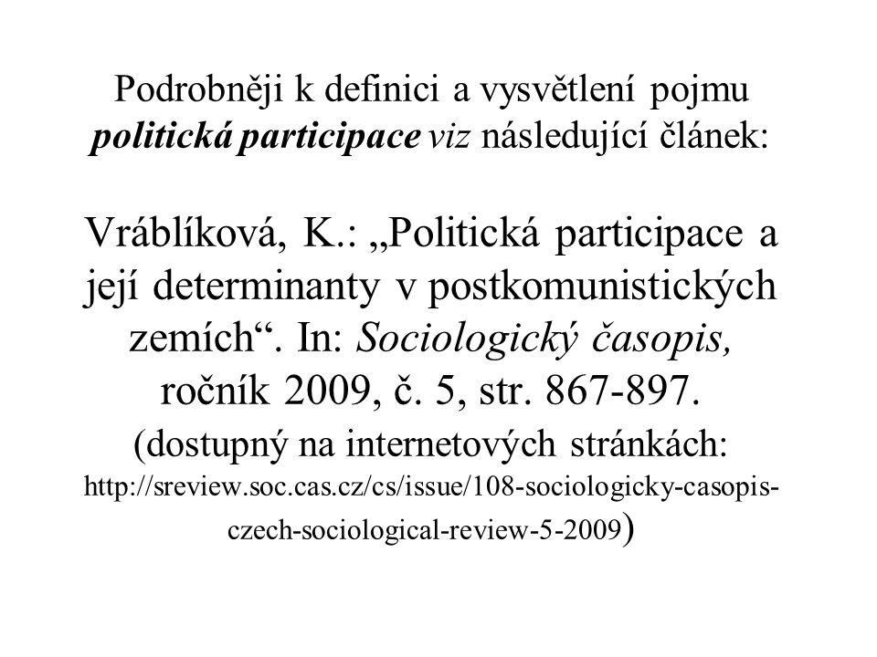 """Podrobněji k definici a vysvětlení pojmu politická participace viz následující článek: Vráblíková, K.: """"Politická participace a její determinanty v postkomunistických zemích ."""