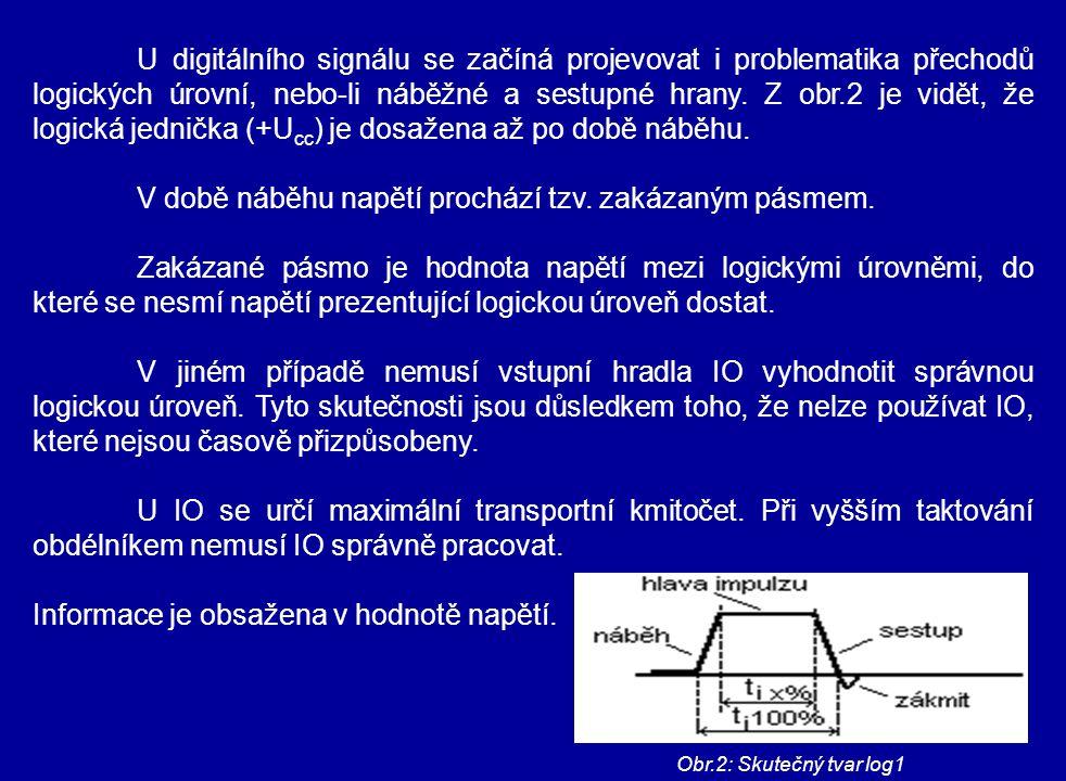 U digitálního signálu se začíná projevovat i problematika přechodů logických úrovní, nebo-li náběžné a sestupné hrany. Z obr.2 je vidět, že logická je