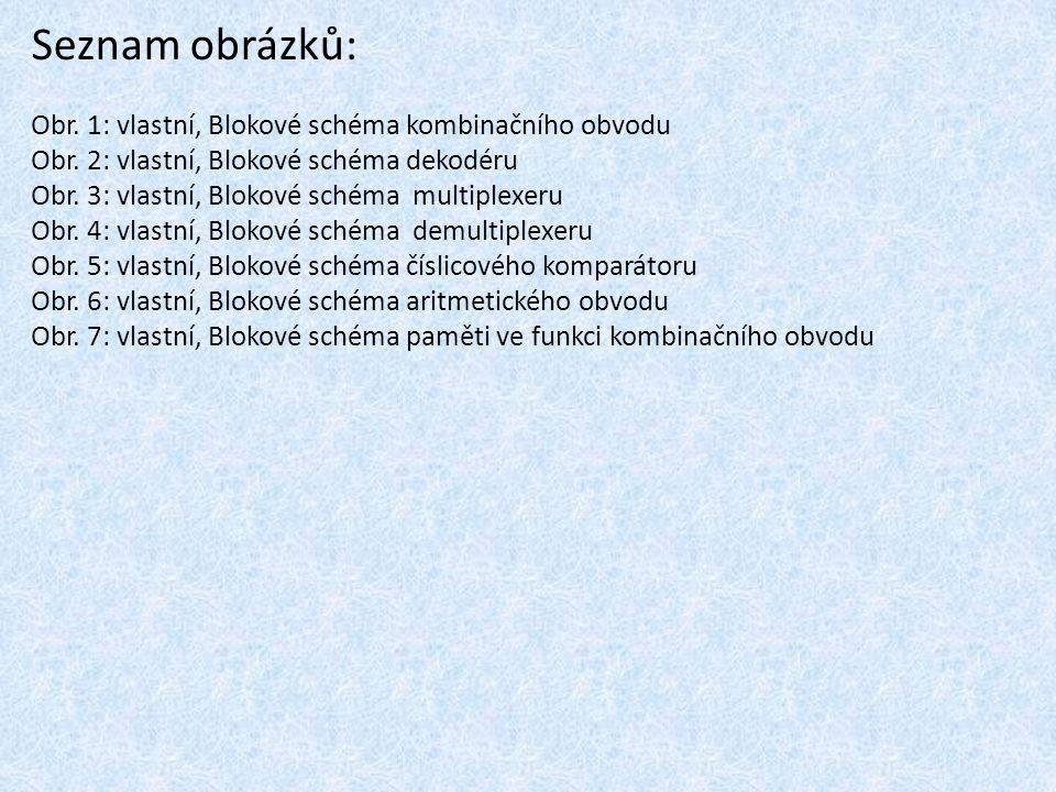 Seznam obrázků: Obr. 1: vlastní, Blokové schéma kombinačního obvodu Obr. 2: vlastní, Blokové schéma dekodéru Obr. 3: vlastní, Blokové schéma multiplex