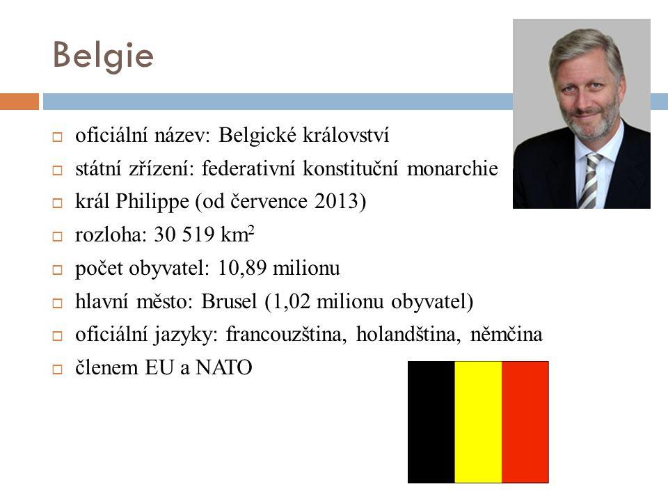 Belgie  oficiální název: Belgické království  státní zřízení: federativní konstituční monarchie  král Philippe (od července 2013)  rozloha: 30 519