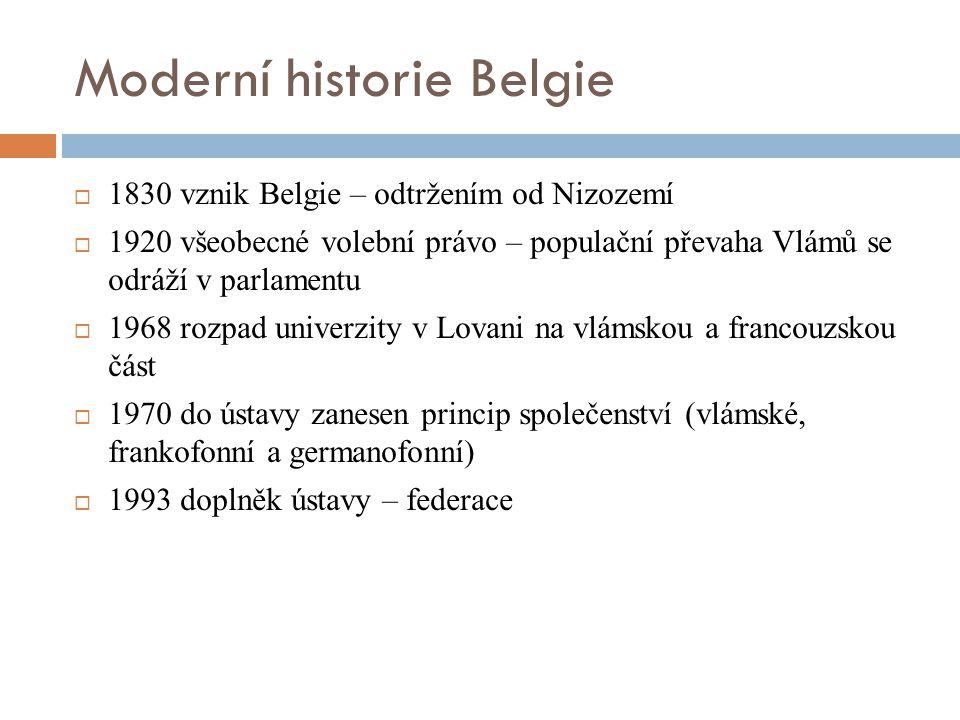 Moderní historie Belgie  1830 vznik Belgie – odtržením od Nizozemí  1920 všeobecné volební právo – populační převaha Vlámů se odráží v parlamentu 