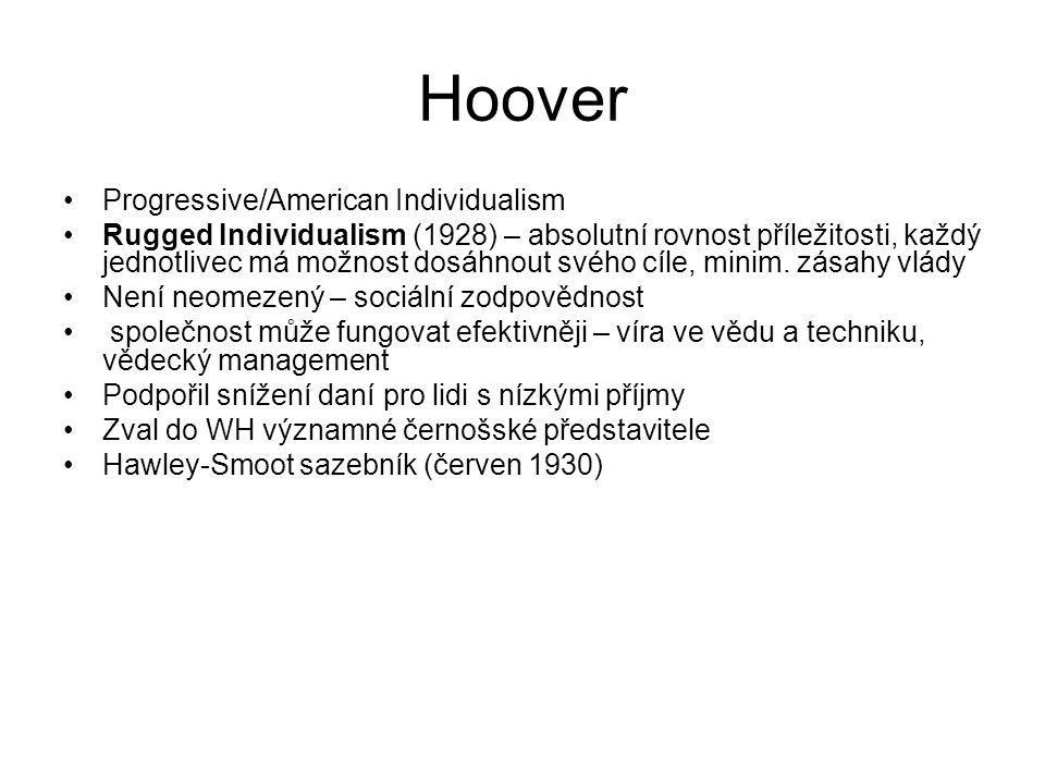 Hoover Progressive/American Individualism Rugged Individualism (1928) – absolutní rovnost příležitosti, každý jednotlivec má možnost dosáhnout svého cíle, minim.