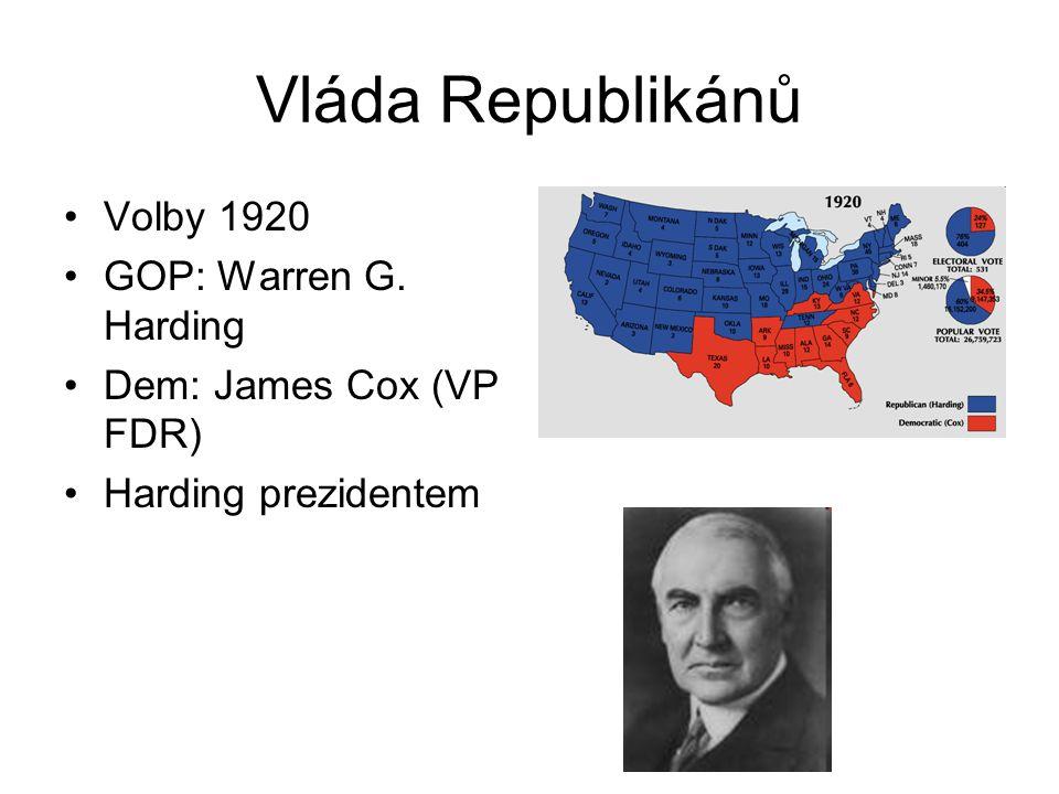 Vláda Republikánů Volby 1920 GOP: Warren G. Harding Dem: James Cox (VP FDR) Harding prezidentem