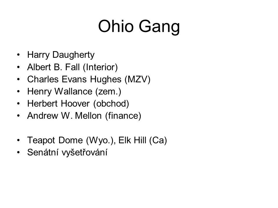 Ohio Gang Harry Daugherty Albert B. Fall (Interior) Charles Evans Hughes (MZV) Henry Wallance (zem.) Herbert Hoover (obchod) Andrew W. Mellon (finance