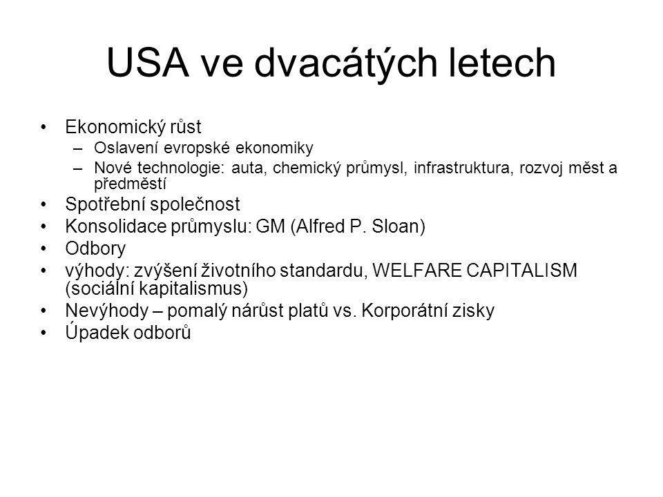 USA ve dvacátých letech Ekonomický růst –Oslavení evropské ekonomiky –Nové technologie: auta, chemický průmysl, infrastruktura, rozvoj měst a předměstí Spotřební společnost Konsolidace průmyslu: GM (Alfred P.