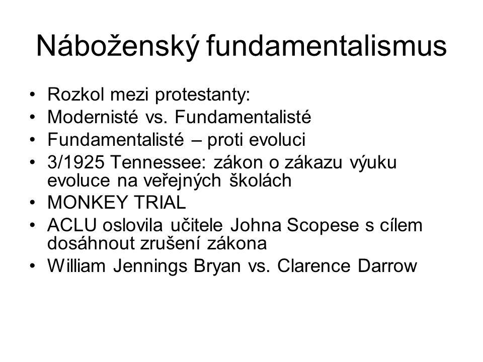 Náboženský fundamentalismus Rozkol mezi protestanty: Modernisté vs.
