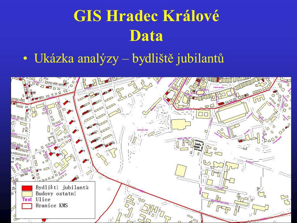 GIS Hradec Králové Data Ukázka analýzy – bydliště jubilantů