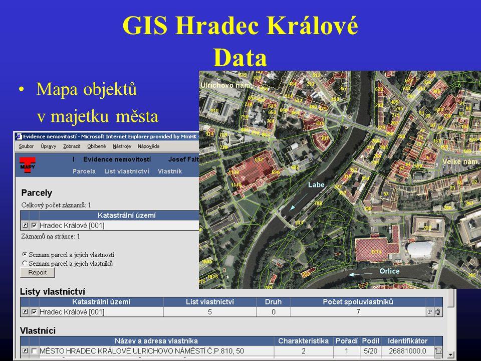 GIS Hradec Králové Data Mapa objektů v majetku města